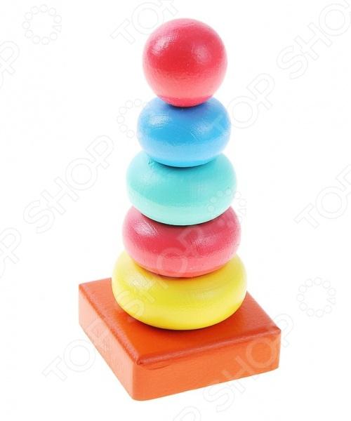 Игрушка-пирамидка Alatoys «Колечки» 050106Пирамидки для малышей<br>Игрушка-пирамидка Alatoys Колечки 050106 замечательный подарок для малышей, играть с которым не только увлекательно, но и полезно. Это своеобразный тренажер, развивающий координацию движений обеих рук и мелкую моторику. Ребенок знакомится с разными цветами и размерами объектов, учится сравнивать и соотносить их. Кроме того, при помощи деталей пирамидки можно освоить устный счет.<br>