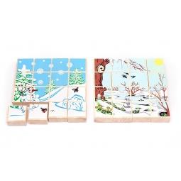 фото Пазл деревянный Томик «Времена года. Зима/весна»