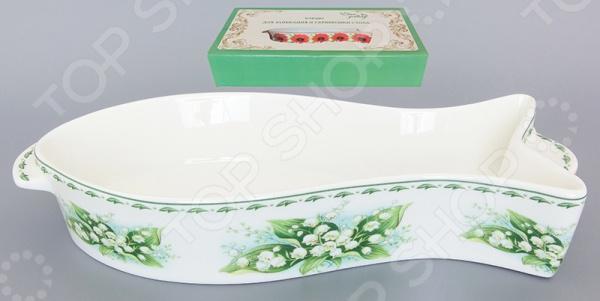 фото Блюдо для запекания Elan Gallery «Ландыши», Керамические формы для выпечки и готовки