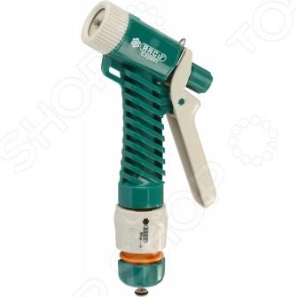 Пистолет-распылитель Raco Original 4255-55/353CПистолеты для полива<br>Пистолет-распылитель Raco Original 4255-55 353C это распылитель, который предназначен для полива растений через подключение к садовому шлангу. Подойдет как для полива цветов, так и кустарников или деревьев. Корпус выполнен из металла, а значит отличается повышенной износостойкостью. Покрытие из пластичной резины гарантирует комфорт и легкость использования, защищает распылитель от выскальзывания из рук. Латунное сопло помогает регулировать струю воды для того, чтобы не повредить нежные растения чрезмерным напором. Можно отметить следующие особенности представленного пистолета:  Удобная рукоятка из пластика дает возможность работать с водой при температуре от 70 до -5 С.  В комплект входит соединитель Original на 1 2 с автостопом.<br>