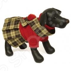 Свитер-платье для собак DEZZIE «Гретта»Попоны<br>Свитер-платье для собак DEZZIE Гретта согреет вашего любимца в холодное время года. В нем ваш любимец будет защищен от переохлаждений и загрязнений шерсти. В таком свитере ваш питомец будет самым модным и стильным на прогулке. Оригинальный яркий рисунок обязательно понравится не только владельцу собаки, но и всем окружающим. Свитер связан лицевой гладью красного цвета со вшитой юбкой в складочку цыета шотладка . Для украшения также предусмотрен накладной воротник с помпоном.<br>