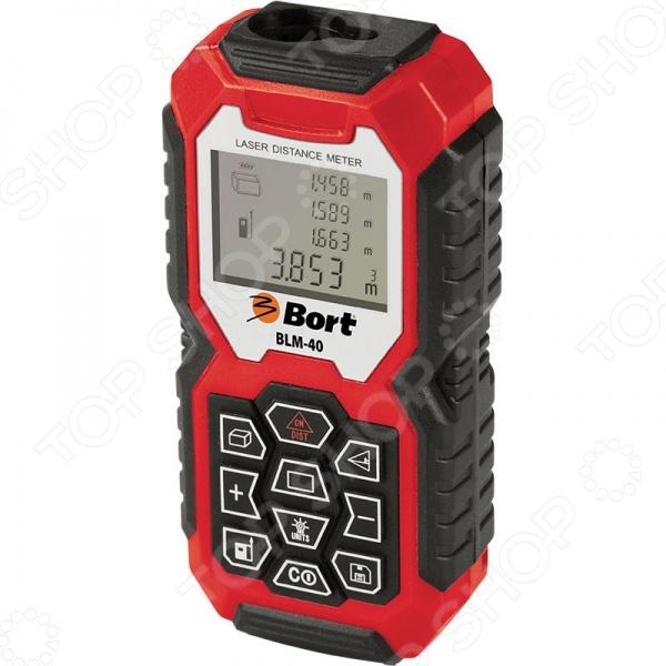 Дальномер лазерный Bort BLM-40Дальномеры<br>Дальномер лазерный Bort BLM-40 предназначен для быстрого и бесконтактного измерения площадей или объемов помещений углов, высот и больших расстояний. С помощью устройства вы сможете выполнять, как прямые, так и косвенные измерения, что очень удобно, если доступ к объекту затруднен. Устройство оснащено прочным и надежным пластиковым корпусом с обрезиненной поверхностью, что не позволяет рукам скользит во время работы. Компактное и практичное устройство обеспечит вам точные, быстрые, удобные, а главное безопасные измерения где бы вы не находились. Подсветка дисплея обеспечит комфортное использование устройства даже в темное время суток. Особенности лазерного дальномера Bort BLM-40:  вычисление площади и объема;  измерения с точностью до 2 мм;  автоматическое выключение;  функция Пифагора;  режим непрерывных измерений;  функция хранения замеров в встроенной памяти.<br>