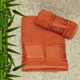 фото Полотенце махровое Mariposa Aqua. Цвет: оранжевый