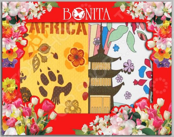 Комплект из 2-х разнофактурных полотенец подарочный BONITA «Путешествие» комплект из 2 х фартуков bonita дочки матери