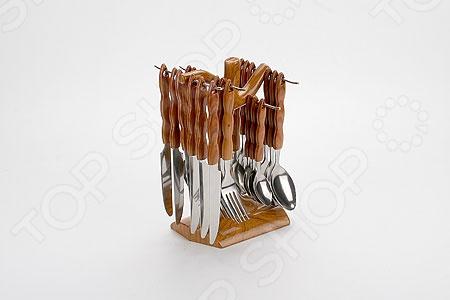 Набор столовых приборов на подставке Mayer&amp;amp;Boch MB-20003Столовые приборы<br>Набор столовых приборов на подставке Mayer Boch MB-20003 это сочетание высокого качества и стильного и оригинального дизайна. Этот набор подойдет для сервировки праздничного стола, или дополнит набор ваших кухонных принадлежностей и хорошо впишется в дизайн современной кухни. Набор рассчитан на 6 персон 6 столовых ложек, 6 вилок, 6 ножей и 6 чайных ложек . Для хранения столовых наборов в комплекте есть удобная подставка.<br>