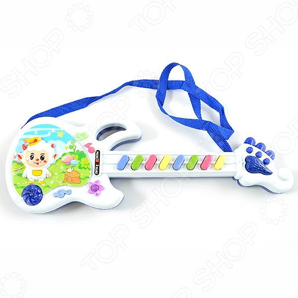 Электрогитара игрушечная Shantou Gepai «Веселая овечка». В ассортиментеИгрушечные музыкальные инструменты<br>Товар продается в ассортименте. Цвет изделия при комплектации заказа зависит от наличия товарного ассортимента на складе. Электрогитара игрушечная Shantou Gepai Веселая овечка оригинальный подарок для ребенка, любящего музыку. Многие дети мечтают стать знаменитыми музыкантами и выступать на сцене, поэтому зачастую играют на воображаемых инструментах. Обрадуйте своего малыша, купив ему игрушечную гитару. Игра с подобными изделиями способствует развитию фантазии, слухового восприятия и мелкой моторики рук. Работает от 2 батареек типа АА приобретаются отдельно .<br>
