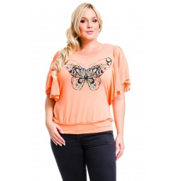 фото Футболка Mondigo XL 8532. Цвет: персиковый. Размер одежды: 48