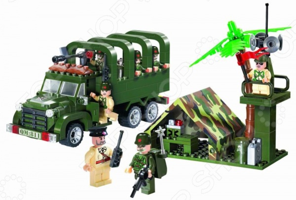 Игровой конструктор Brick «Военный грузовик» 811 конструктор металлический грузовик и трактор 345 элементов