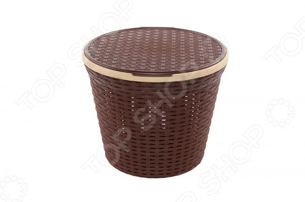 Zakazat.ru: Корзина для белья круглая с крышкой Violet 2518 «Ротанг»