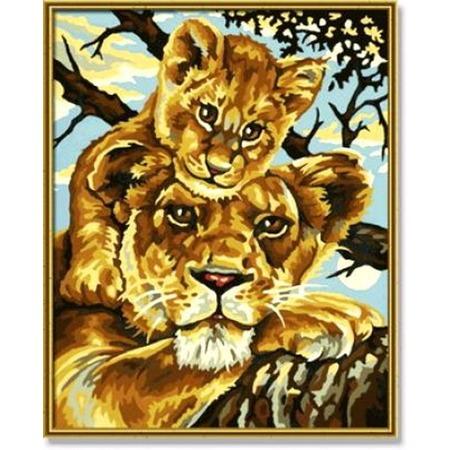Купить Набор для рисования по номерам Schipper «Львица с львенком»