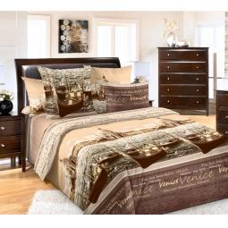 фото Комплект постельного белья Королевское Искушение «Венеция». 1,5-спальный. Цвет: коричневый