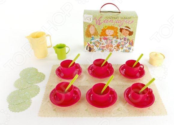Набор посуды игрушечный Росигрушка «Чайный. Каприза»Сюжетно-ролевые наборы<br>Набор посуды игрушечный Росигрушка Чайный. Каприза станет замечательным подарком ребенку. Он содержит элементы, позволяющие разнообразить игровой процесс, сделать игру интереснее. Игровые наборы важны для детей, поскольку развивают фантазию, помогают научить ребенка доброте и заботе, почувствовать ответственность. Комплект включает:  молочник;  сахарница;  блюдце 6 шт;  чашка 6 шт;  ложка 6 шт;  чайник;  бумажная скатерть 30х42 см ;  бумажные салфетки 6 шт.<br>