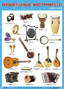Музыкальные инструменты народов мираНаглядно-дидактические пособия<br>Плакат большого формата Музыкальные инструменты народов мира даст детям представление о музыкальных инструментах разных стран. Четкие красочные фотографии обязательно понравятся детям.<br>