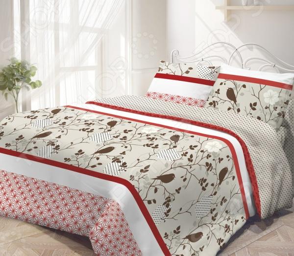 Комплект постельного белья Гармония «Летний сад». 1,5 спальныйПолутороспальные комплекты постельного белья<br>Комплект постельного белья Гармония Летний сад это незаменимый элемент вашей спальни. Человек треть своей жизни проводит в постели, и от ощущений, которые вы испытываете при прикосновении к простыням или наволочкам, многое зависит. Чтобы сон всегда был комфортным, а пробуждение приятным, мы предлагаем вам этот комплект постельного белья. Приятный цвет и высокое качество комплекта гарантирует, что атмосфера вашей спальни наполнится теплотой и уютом, а вы испытаете множество сладких мгновений спокойного сна. В качестве сырья для изготовления этого изделия использованы нити хлопка. Натуральное хлопковое волокно известно своей прочностью и легкостью в уходе. Волокна хлопка состоят из целлюлозы, которая отлично впитывает влагу. Хлопок дышит и согревает лучше, чем шелк и лен. Поэтому одежда из хлопка гарантирует владельцу непревзойденный комфорт, а постельное белье приятно на ощупь и способствует здоровому сну. Не забудем, что хлопок несъедобен для моли и не деформируется при стирке. За эти прекрасные качества он пользуется заслуженной популярностью у покупателей всего мира. Комплект постельного белья Гармония Летний сад выполнен из ткани поплин. Нежная и в тоже время прочная ткань отлично подходит для людей с чувствительной кожей и детей. Частая стирка не изменяет цвет рисунка и не влияет на износостойкость таких изделий.<br>