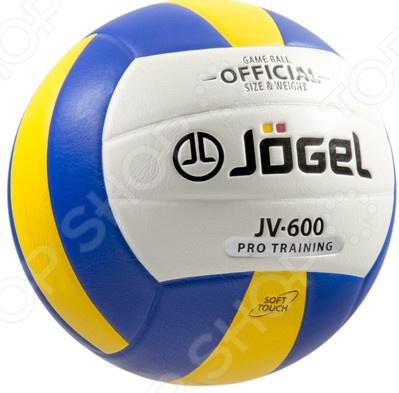 Мяч волейбольный Jogel JV-600Мячи волейбольные<br>Мяч волейбольный Jogel JV-600 станет отличным приобретением как для начинающих игроков, так и для спортсменов-любителей. У вас появится возможность попробовать себя в роли профессиональных волейболистов и на практике отработать различные игровые приемы. Кроме того, занятия волейболом позволяют укрепить здоровье и способствуют развитию выносливости, скорости реакции и физической силы. Среди особенностей предлагаемой модели также стоит отметить:  Бутиловую камеру способствует сохранению равномерного давления воздуха и, как следствие, более медленному износу поверхности.  Поверхность из синтетической кожи является достаточно мягкой и позволяет избежать синяков и ушибов, даже при сильных ударах.  Склеенные панели обеспечивают дополнительную прочность и долговечность использования.<br>