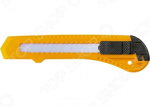 Нож строительный SPARTA 78974Строительные ножи<br>Нож SPARTA 78974 станет отличным дополнением к вашему строительному инвентарю. При помощи представленной модели, вы с легкостью заточите карандаш, отрежете необходимый кусок картона или кожи. Пластиковый корпус с рельефной поверхностью обеспечит надежный и уверенный хват. Сегментированное лезвие фиксируется специальной кнопкой, поэтому не западет внутрь во время работы. При затуплении лезвия, просто отломите первый сегмент и нож снова начнет резать как по маслу . Замена режущего элемента осуществляется вручную через хвостовую часть ножа.<br>