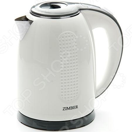 Чайник Zimber ZM-11075Чайники электрические<br>Чайник Zimber ZM-11075 это удобный чайник, который подойдет для ежедневного использования. Мощность 2200 Вт, максимальный объем 1,7 литра. Корпус выполнен из пластика, скрытый нагревательный элемент, есть индикатор включения. Есть функция отключения при снятии чайника с подставки и закипании. Можно отметить следующие преимущества электрического чайника:  Быстрый нагрев воды;  Поддержка воды в горячем состоянии в течении долгого времени;  Нагревательный элемент чайника встроен в плоское дно, более долговечен, чем открытая спираль;  Дизайн порадует глаз и внесет новые краски в дизайн вашей кухни.<br>