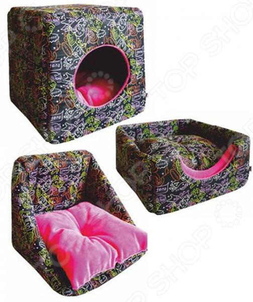 Домик для кошек ZOOExpress «Куб-трансформер»Домики. Лежаки. Когтеточки<br>Домик для кошек ZOOExpress Куб-трансформер уютный домик-трансформер для вашего любимого питомца. Он изготовлен из прочного поплина и мягкого плюша, на дне имеется мягкая подстилка. Это невероятно комфортное местечко, которое может быть трансформировано в куб, диванчик и лежанку. Домик подойдет не только для кошек и котят, но также щенков и мелких пород собак. Он изготовлен из экологически чистого материала, а используемые в производстве краски отличаются стойкостью и не содержат токсичных компонентов.<br>