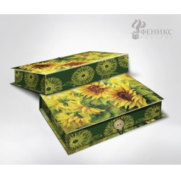фото Шкатулка-коробка подарочная Феникс-Презент «Подсолнухи». Размер: M (20х14 см). Высота: 6 см
