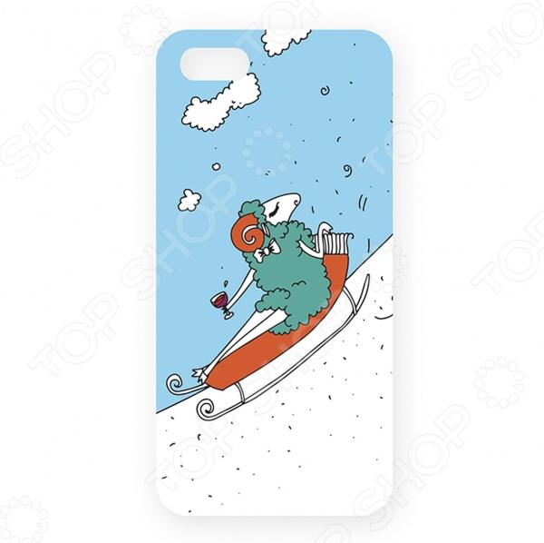 Чехол для iPhone 5 Mitya Veselkov «Овечка на саночках» цена и фото