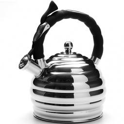 фото Чайник со свистком Mayer&Boch Convex Rings. Цвет: серебристый, чёрный