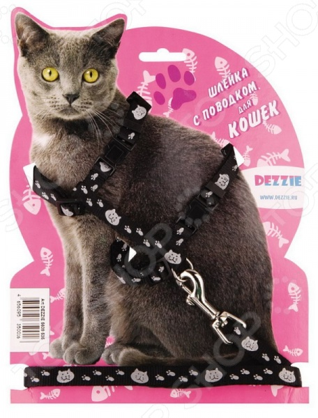 Набор для крупных кошек: шлейка и поводок DEZZIE Тедди - оригинальный набор для вашей любимой кошки, который станет прекрасным решением для совместных прогулок. Стильная и красивая амуниция станет не только элегантным украшением вашего питомца, но и надежной защитой. С её помощью вы сможете следить за своим питомцем и направлять его во время прогулки. Входящие в набор шлейка и поводок выполнены из качественного нейлона, который в свою очень отличается своей прочностью и легкостью. Конструкция шлейки специально разработана для крупных кошек. Теперь совместные прогулки станут ещё приятней и легче.