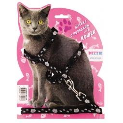 фото Набор для крупных кошек: шлейка и поводок DEZZIE «Тедди». Цвет: черный