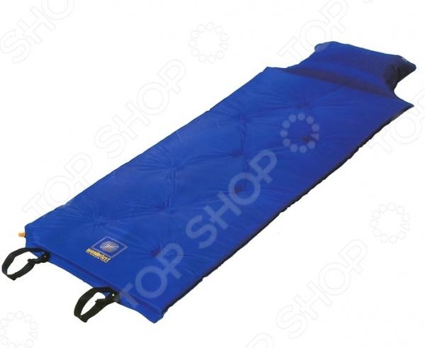 Коврик с надувной подушкой Wanderlust V-max 25Туристические коврики и пледы<br>Коврик с надувной подушкой Wanderlust V-max 25 прекрасно дополнит собой туристический инвентарь для кемпинга или горного туризма. Эта модель представляет собой надувной коврик с вмонтированной подушкой для комфортного и теплого отдыха на любой поверхности. Коврик предназначен для предохранения спального мешка от механических повреждений, которые случаются во время стоянок на ухабистой местности. Легкий и компактный, его можно прикрепить ко дну туристического рюкзака, не занимая лишнее место для другой важной экипировки. Данная модель изготовлена из полиэстера с наполнителем из вспененного полиуретана. Материалы водоотталкивающие и износостойкие, делают это изделие универсальным и функциональным. Коврик самонадувающийся, оснащен встроенным в угол клапаном, который прост в использовании. Спустя пару минут у вас уже есть готовый эргономический теплоизолирующий подстилок под спальник и упругая подушка для полного расслабления. С таким ковриком ваш сон станет комфортнее, где бы вы ни находились.<br>