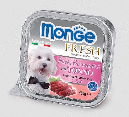 Корм консервированный для собак Monge Fresh Pate e Bocconcini con TonnoВлажные корма<br>Корм консервированный для собак Monge Fresh Pate e Bocconcini con Tonno великолепное решение для дополнительного питания для собак различных пород и возрастов. Этот сбалансированный корм выполнен в виде мягкого паштета и послужит настоящим деликатесом для вашего четвероногого гурмана. Благодаря тому, что в состав паштета входит большое количество чистого и натурального мяса, его по достоинству оценят даже самые капризные и разборчивые в еде питомцы. Приятный и натуральный тунца не испорчен искусственными красителями, консервантами и усилителями вкуса. Помимо свежего мяса, рацион также содержит витамины и минералы, которые удовлетворят естественные потребности любой собаки, независимо от её образа жизни: пассивного или активного. Благодаря мягкой консистенции, корм подойдет даже для миниатюрных питомцев. Почему этот корм стоит выбрать для своего питомца  Содержит только отборные и натуральные продукты самого высокого качества.  В составе нет искусственных красителей, консервантов, субпродуктов и гидронегизированных жиров.  Не содержит сахар.  Обогащен витаминами, микро- и макроэлементами, необходимыми для гармоничного развития щенков и поддержания здоровья взрослых собак.  Изготовляется по уникальной технологии: кусочки отборного мяса запекаются в специализированной печи. Суточная норма кормления. Кормом консервированным для собак Monge Fresh Pate e Bocconcini con Tonno не следует полностью заменять сухой корм. Рекомендованное количество корма следует корректировать в зависимости от особенностей и потребностей вашей собаки, её физического состояния и образа жизни. Собакам средних размеров необходимо до 5-6 упаковок продукта в день, кормление лучше разделить на 2-3 приема. Корм рекомендуется давать комнатной температуры. Открытую упаковку рекомендуется хранить в холодильнике.       Вес собаки, кг     4-8     9-14     15-24     25-34     35       Суточная норма, г     400-800     90