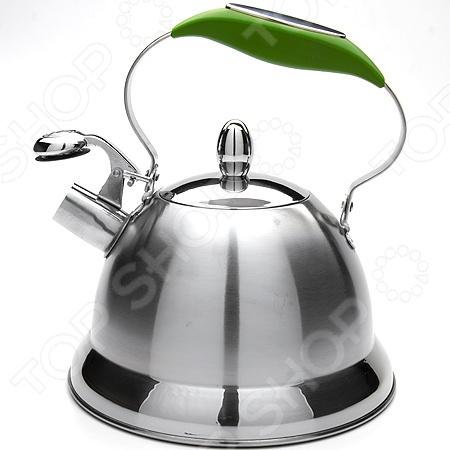 Чайник со свистком Mayer&amp;amp;Boch MB-23206. В ассортиментеЧайники со свистком и без свистка<br>Товар продается в ассортименте. Цвет изделия при комплектации заказа зависит от наличия цветового ассортимента товара на складе. Чайник со свистком Mayer Boch MB-23206 это объемный чайник на 3 л, который сделан из нержавеющей стали. На носик чайника можно прикрепить свисток. Ручка покрыта специальным материалом, оснащена специальным участком, за который удобно брать. Нержавеющая сталь обладает высокой устойчивостью к коррозии, не вступает в реакцию с холодными и горячими продуктами и полностью сохраняет вкусовые качества. Крышка выполнена в одном дизайне с чайником. Можно отметить следующие преимущества подобного чайника по сравнению с электрическими:  быстрый нагрев воды;  большой объем;  долговечность покрытия;  расходы на подогрев воды намного меньше;  гигиеничность, благодаря металлическому корпусу.<br>