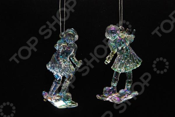 Елочное украшение Crystal Deco «Девочка на лыжах». В ассортименте