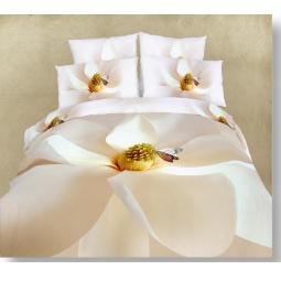 фото Комплект постельного белья Buenas Noches White Magnolia. Satin Fotoprint. Евро
