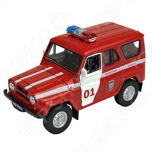 Модель автомобиля 1:34-1:39 Welly УАЗ. Пожарная охранаМодели авто<br>Модель автомобиля 1:34-1:39 Welly УАЗ. Пожарная охрана представляет собой точную копию настоящего российского автомобиля. Коллекционная модель выпущена известной компанией по производству игрушек Welly. Особенность коллекции в том, что все модели изготовлены по лицензии именитых автопроизводителей. Служебная машина изготовлена из металла с элементами пластика и оснащена инерционным механизмом, что сделает игровой процесс еще более захватывающим. У нее открываются двери, вращаются колеса. Яркий автомобиль разнообразит игровые ситуации, откроет новые сюжеты для маленького автолюбителя и поможет развить мелкую моторику рук, внимание и координацию движений. Модель 1:34-1:39 УАЗ. Пожарная охрана является отличным подарком не только ребенку, но и коллекционеру.<br>