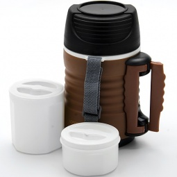 фото Термос с контейнерами Mayer&Boch Wavy. Объем: 700 мл. Цвет: белый, коричневый, чёрный