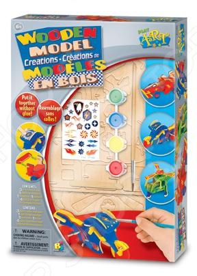 Деревянная модель Bojeux 12309Наборы для моделирования<br>Деревянная модель Bojeux 12309 станет отличным подарком для юного конструктора, ведь она позволяет ребенку собственными руками собрать и украсить игрушку. Процесс сборки очень прост: нужно покрасить детали, дать им просохнуть и соединить детали, номера на которых соответствуют друг другу. Чтобы перевести наклейку на модель, удалите с нее защитную пленку и приложите ее к выбранному месту. Удерживая ее на месте, потрите её деревянной палочкой и аккуратно удалите покрывающую её прозрачную пленку. Комплект содержит три листа с вырубленными деталями, кисть для покраски, четыре цвета краски, лист с переводными картинками и деревянную палочку.<br>