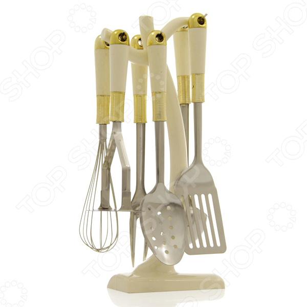 Набор кухонных принадлежностей Mayer&amp;amp;Boch MB-22006Наборы кухонных принадлежностей<br>Набор кухонных принадлежностей Mayer Boch MB-22006 - удобный и практичный набор, который придаст Вашей кухне элегантность, подчеркнет индивидуальный дизайн и превратит приготовление еды в настоящее удовольствие. Набор удобен и практичен в использовании. Все принадлежности можно компактно разместить на специальной поставке. Ручки, выполненные в классическом дизайне, имеют удобную форму и приятно ложатся в руку. Набор выполнен из высококачественной сталь 18 10, которая отлично подходит для приготовления пищи. Приборы не окисляются и не изменяют вкусовых качеств продуктов.<br>