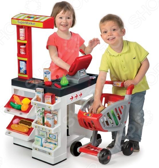 Игровой набор для ребенка Smoby «Супермаркет с тележкой» игровой супермаркет звуковой с тележкой 17 предметов
