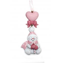фото Елочное украшение Crystal Deco «Снеговик с сердечком». Цвет: розовый