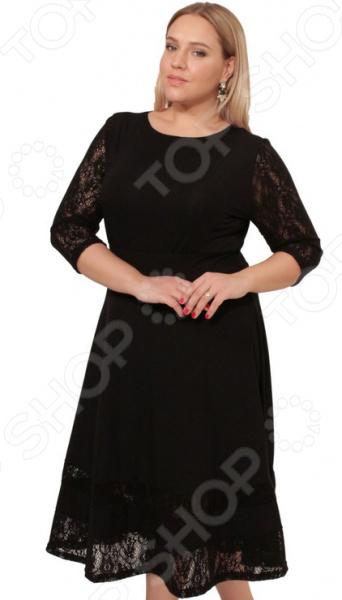 Платье Матекс «Тайная встреча». Цвет: черныйПовседневные платья<br>Платье Матекс Тайная встреча это легкое платье, которое поможет вам создавать невероятные образы, всегда оставаясь женственной и утонченной. Благодаря полуприталенному силуэту оно скроет недостатки фигуры и подчеркнет достоинства. В этом платье вы будете чувствовать себя блистательно как на работе, так и на вечерней прогулке по городу.  Модель полуприлегающего силуэта, юбка расклешенная.  Платье идеально для торжественного вечера, но будет также хорошо смотреться в офисе.  Рукава и низ изделия выполнены из легкого и мягкого на ощупь гипюра. Платье сделано из мягкой ткани джерси 95 вискоза, 5 полиэстер и гипюра 100 полиэстер . Благодаря вискозе кожа дышит, полиэстер, не дает изделию скатываться и терять свой внешний вид после стирок и ношения.<br>