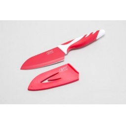 фото Нож сантоку в пластиковом чехле Gipfel Rainbow. Цвет рукояти: красный