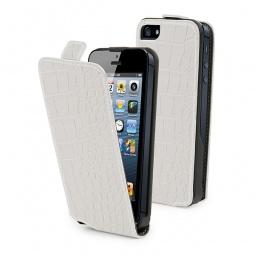 фото Чехол и пленка на экран Muvit Slim Croco для iPhone 5. Цвет: белый