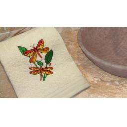 фото Полотенце подарочное с вышивкой TAC Dragonfly. Цвет: бежевый