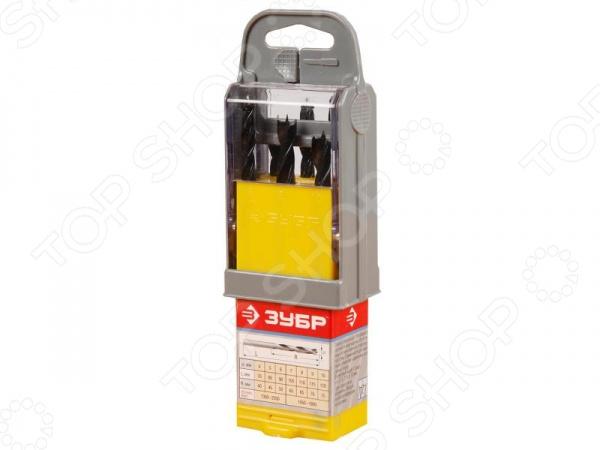 Набор сверл по дереву Зубр «Эксперт» 29421-H7-SBНаборы сверл<br>Набор сверл по дереву Зубр Эксперт 29421-H7-SB полезный и функциональный набор, который используется при осуществлении строительных и ремонтных работ любых масштабов. Данный вид сверл используется с электродрелями и шуроповертами, и предназначен для сверления отверстий вдоль и поперек волокон в древесине различных пород дерева. Изделия также можно использоваться во время работы с клеевыми и фанерными щитами. Набор изготовлен из высококачественной углеродистой стали, которая характеризуется своей износостойкостью и долговечностью. Благодаря специальному парооксидированному покрытию, рабочая поверхность надежна защищена от коррозии и ржавчины. Особенности набора сверл по дереву Зубр Эксперт 29421-H7-SB:  шлифованный цилиндрический хвостик;  М-образная заточка имеет форму трезубца с конусным центром и подрезателями;  пластиковый супербокс имеет деления специально предназначенные для каждого инструмента. В набор входят сверла с различными размерами: 4 мм, 5 мм, 6 мм, 7 мм, 8 мм, 9 мм, 10 мм.<br>