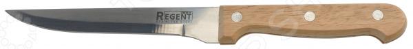 Нож Regent универсальный RetroНожи<br>Нож Regent универсальный Retro качественное изделие, которое пригодится на любой кухне. Полотно ножа изготовлено из нержавеющей стали, благодаря чему оно длительное время будет сохранять необходимую остроту и изящный глянцевый блеск. Сталь идеально подходит для взаимодействия с продуктами питания, так как она устойчива к коррозии, не выделяет вредных веществ и не придает пище металлический привкус. Эргономичная рукоятка ножа выполнена из древесины и имеет слегка изогнутую форму, делающую хват более надежным и уверенным. Рукоятка приятна на ощупь, не скользит в руках и легко очищается. Нож идеально подойдет для очищения, нарезки, шинковки и измельчения самых разнообразных продуктов. Благодаря изящному лаконичному дизайну изделие будет замечательно смотреться в интерьере любой кухни, внесет в него новизну и особый уют, станет помощником в создании самых разнообразных кулинарных шедевров.<br>