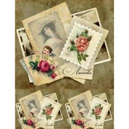 Купить Карта декупажная Кустарь «Любовь, открытки ретро»