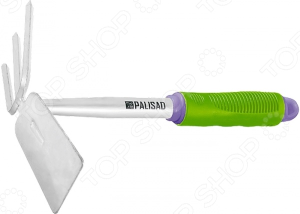 Мотыжка PALISAD 63008Мотыги<br>Мотыжка PALISAD 63008 станет отличным дополнением к набору вашего садового инвентаря. Представленная модель пригодится при таких видах обработки почвы как: рыхление, аэрация, бороздование, прополка. Благодаря небольшому размеру и комбинированной конструкции трапеция и 3 зубца , ее можно использовать даже между узкими рядами растений и на клумбах. Мотыга изготовлена из высококачественной инструментальной стали У8 и окрашена порошковой эмалью, защищающей рабочую часть от коррозии. Эргономичная рукоятка выполнена из пластика. Прорезиненная поверхность обеспечивает удобный и надежный захват инструмента во время работы. При желании, ручку можно удлинить специальной штангой продается отдельно . Очищайте мотыжку от остатков грунта после каждого использования и она прослужит вам долгие годы.<br>