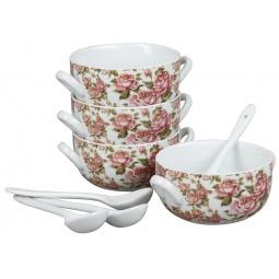 фото Набор тарелок суповых Rosenberg 9302. Рисунок: корейская роза