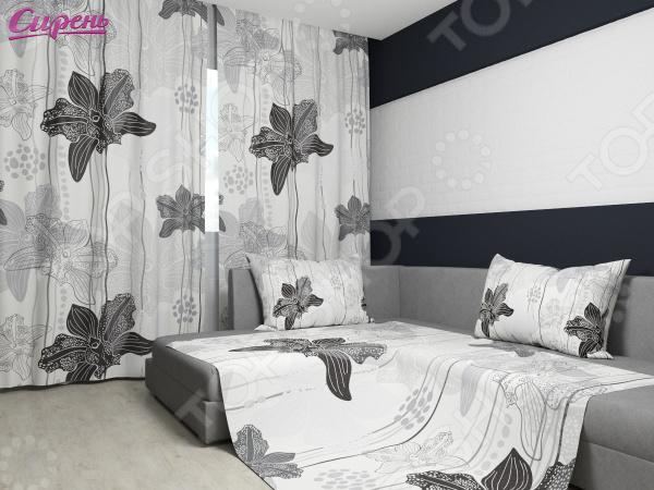 Комплект: фотошторы и покрывало Сирень «Черно-белые орхидеи»Фотошторы<br>Комплект: фотошторы и покрывало Сирень Черно-белые орхидеи элемент, способный украсить и оживить интерьер любой комнаты. Застелите ваш диван или кровать этим покрывалом, и привычная мебель станет еще уютнее, чем раньше. А шторы, выполненные в едином стиле с покрывалом, станут завершающим штрихом в оформлении комнаты. При этом такой комплект может стать хорошим подарком близкому человеку. В комплекте вы найдете:  Две фотошторы, размер каждой из которых составляет 145х260 см 3 см .  Покрывало размером 145х220 см 3 см . Оцените основные преимущества комплекта из коллекции бренда Сирень :  Оригинальный дизайн придаст изюминку интерьеру.  Сделано из качественных износостойких материалов. Изображение на ткани долго не линяет и не выгорает.  Рисунок нанесен на материал при помощи специальной технологии, создающей эффект 3D. Смотрится очень эффектно. Покрывало и шторы выполнены из ткани габардин, состоящей на 100 из полиэстера. На поверхности полотна заметны диагональные рубчики, полученные в результате саржевого плетения в процессе производства. В результате изделие отличается своей прочностью и долговечностью, сохраняет первоначальный вид в течение длительного времени. Рекомендуется ручная стирка при температуре 30 C или в стиральной машине в деликатном режиме. Шторы крепятся при помощи шторной ленты под крючки .<br>
