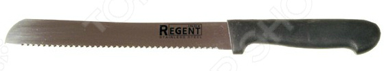 Нож Regent для хлеба PrestoНожи<br>Нож Regent Presto с зубчатым лезвием из высококачественной нержавеющей стали станет незаменимым на вашей кухне. Благодаря особой форме режущей кромки, модель идеально подойдет для нарезания хлеба на аккуратные кусочки и ломтики. Лезвие долго остается острым, а цельнокованный клинок гарантирует долговечность изделия. Эргономичная объемная рукоять удобно ложится в ладонь, чтобы рука не уставала от долгой работы. Она выполнена из пластика, поэтому проста в уходе и очень надежна. Рельефная поверхность обеспечит надежный захват и не даст ножу скользить в руке при использовании. С ножом Regent Presto, вы почувствуете себя профессиональным шеф-поваром, который создает кулинарные шедевры день за днем.<br>
