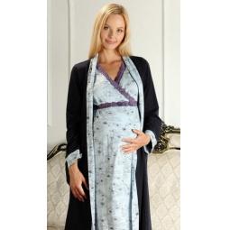 Купить Комплект: халат и сорочка для беременных Nuova Vita 214.3. Цвет: голубой, синий